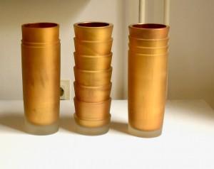 Gefäßskulptur Glaszylinder Hochschnitt vergoldet