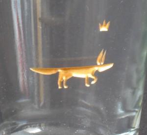 Detail Fuchs Glasgravur farbvergoldet