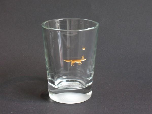 Fuchs glas graviert, farbvergoldet