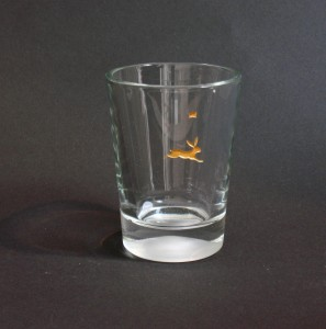Springender Hase, Glasgravur vergoldet