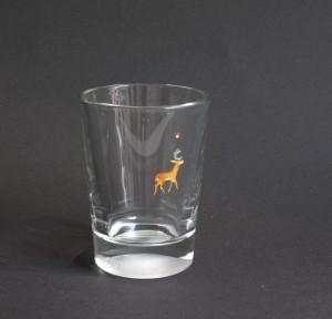 Hirsch graviertes Glas vergoldet