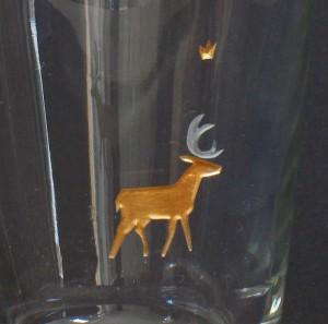 Hirsch 2 Glasgravur vergoldet