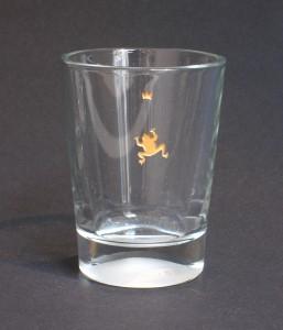 Frosch vergoldete Glasgravur