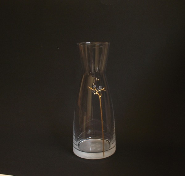 Kirschzweig Glaskaraffe graviert, vergoldet