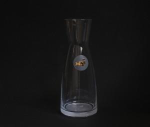 Fischmann Glaskaraffe, graviert, echt vergoldet Vol. 1 Liter